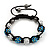 Unisex Blue/Metallic Silver Acrylic Jewelled Balls Shamballa Bracelet - 10mm - Adjustable