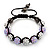 Lavender/Metallic Silver Acrylic Jewelled Balls Shamballa Bracelet - 10mm - Adjustable