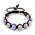 Lavender/Metallic Silver Acrylic Jewelled Balls Shamballa Bracelet - 10mm - Adjustable - view 4