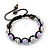 Lavender/Metallic Silver Acrylic Jewelled Balls Shamballa Bracelet - 10mm - Adjustable - view 5