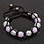 Lavender/Metallic Silver Acrylic Jewelled Balls Shamballa Bracelet - 10mm - Adjustable - view 3