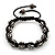 Unisex Buddhist Bracelet Crystal Jet Black Swarovski Crystal Beads 10mm - Adjustable