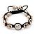 Antique White Skull Shape Stone Beads Buddhist Bracelet - 11mm diameter - Adjustable - view 11