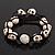 Antique White Skull Shape Stone Beads Buddhist Bracelet - 11mm diameter - Adjustable - view 4