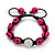 Deep Pink Skull Shape Stone Beads Shamballa Bracelet - 11mm diameter - Adjustable