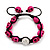 Deep Pink Skull Shape Stone Beads Shamballa Bracelet - 11mm diameter - Adjustable - view 9