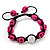 Deep Pink Skull Shape Stone Beads Shamballa Bracelet - 11mm diameter - Adjustable - view 10