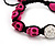 Deep Pink Skull Shape Stone Beads Shamballa Bracelet - 11mm diameter - Adjustable - view 6