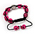 Deep Pink Skull Shape Stone Beads Shamballa Bracelet - 11mm diameter - Adjustable - view 3