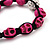 Deep Pink Skull Shape Stone Beads Shamballa Bracelet - 11mm diameter - Adjustable - view 4