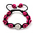 Deep Pink Skull Shape Stone Beads Shamballa Bracelet - 11mm diameter - Adjustable - view 7
