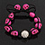 Deep Pink Skull Shape Stone Beads Shamballa Bracelet - 11mm diameter - Adjustable - view 8