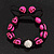 Deep Pink Skull Shape Stone Beads Shamballa Bracelet - 11mm diameter - Adjustable - view 2