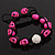 Deep Pink Skull Shape Stone Beads Shamballa Bracelet - 11mm diameter - Adjustable - view 5