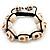 Unisex Antique White Skull Shape Stone Beads Buddhist Bracelet - 17mm diameter - Adjustable