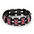 UK British Flag Union Jack Hematite Elasticated Bracelet - up to 20cm length