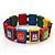 Multicoloured Wood 'Peace' Stretch Bracelet - up to 20cm length