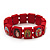 Stretch Red Wooden Saints Bracelet / Jesus Bracelet / All Saints Bracelet - Up to 20cm Length - view 1