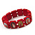 Stretch Red Wooden Saints Bracelet / Jesus Bracelet / All Saints Bracelet - Up to 20cm Length - view 3