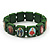 Stretch Green Wooden Saints Bracelet / Jesus Bracelet / All Saints Bracelet - Up to 20cm Length