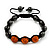 Hematite & Orange Swarovski Crystal Beaded Buddhist Bracelet - Adjustable - 11mm Diameter