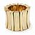 Chunky Wide Gold Textured Acrylic Flex Bracelet - 21cm Length