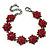 Burgundy Red Swarovski Crystal Floral Bracelet In Gun Metal - 16cm Length (with 5cm extension)