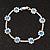 Violet Blue/Clear Swarovski Crystal Floral Bracelet In Rhodium Plated Metal - 17cm Length