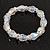 Transparent Glass Bead With Clear Crystals Silver Rings Flex Bracelet - 18cm Length