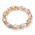 Light Pink Glass Bead With Clear Crystals Silver Rings Flex Bracelet - 18cm Length