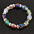 Multicoloured Glass Bead With Clear Crystals Silver Rings Flex Bracelet - 18cm - view 2