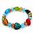 Multicoloured Heart & Faceted Bead Flex Bracelet - 18cm Length