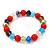 Multicoloured Glass Bead Flex Bracelet - 18cm Length