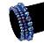 Set Of 3 Royal Blue Glass Flex Bracelets - 18cm Length