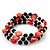 Acrylic & Shell Bead Coil Flex Bangle Bracelet (Red and Black) - Adjustable - view 2