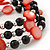 Acrylic & Shell Bead Coil Flex Bangle Bracelet (Red and Black) - Adjustable - view 3