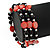 Acrylic & Shell Bead Coil Flex Bangle Bracelet (Red and Black) - Adjustable - view 4