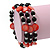 Acrylic & Shell Bead Coil Flex Bangle Bracelet (Red and Black) - Adjustable - view 5