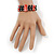 Acrylic & Shell Bead Coil Flex Bangle Bracelet (Red and Black) - Adjustable - view 6