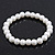Classic White Glass Pearl Flex Bracelet - 8mm diameter/Up to 20cm Length