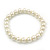 Classic Cream Simulated Glass Pearl Flex Bracelet - 7mm diameter/Up to 20cm Length