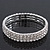 3 Row Swarovski Crystal Flex Bracelet In Silver Plating - up to 18cm Length