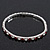 Slim Burgundy Red/Clear Diamante Flex Bracelet In Silver Plating - 18cm Length