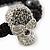 Silver Plated Swarovski Crystal Skull and Hematite Bead Buddhist Bracelet - Adjustable - 23mm Diameter - view 3