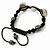 Silver Plated Swarovski Crystal Skull and Hematite Bead Buddhist Bracelet - Adjustable - 23mm Diameter - view 5