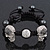 Silver Plated Swarovski Crystal Skull and Hematite Bead Buddhist Bracelet - Adjustable - 23mm Diameter - view 4