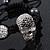Silver Plated Swarovski Crystal Skull and Hematite Bead Buddhist Bracelet - Adjustable - 23mm Diameter - view 8