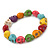 Multicoloured 'Skull' Stone Bead Flex Bracelet - 13mm - up 20cm Length - view 2
