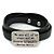Black Leather 'We are all of us stars and we deserve to twinkle' Inscription by Marilyn Monroe Wrap Bracelet (Silver Tone) - Adjustable