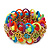 Multicoloured Acrylic Bead, Skull & Chain Flex Bracelet - Up to 19cm length